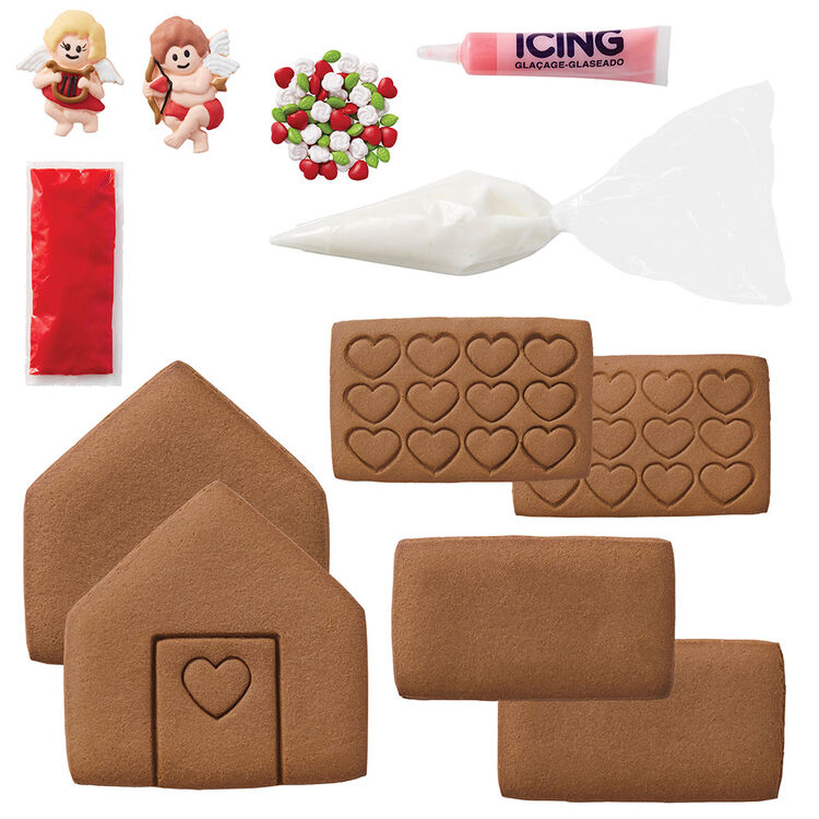 Valentine's Day cookie house decorating kit content