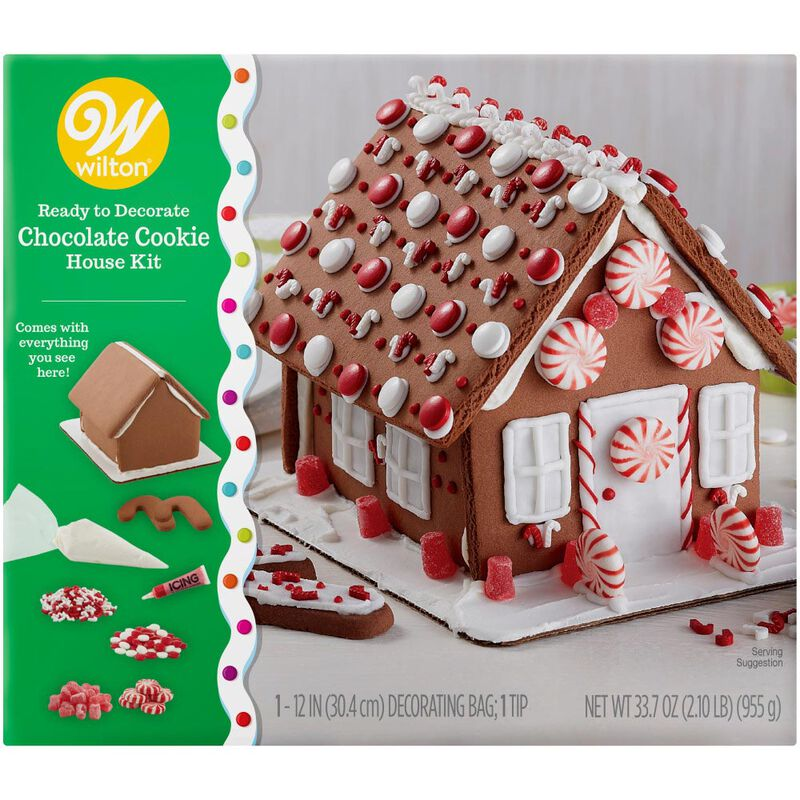 Ready to Decorate Chocolate Cookie House Decorating Kit image number 0