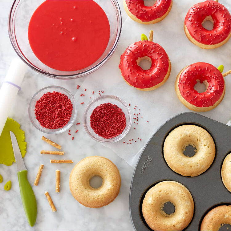 Donuts Decorated as Red Apples with Sprinkles