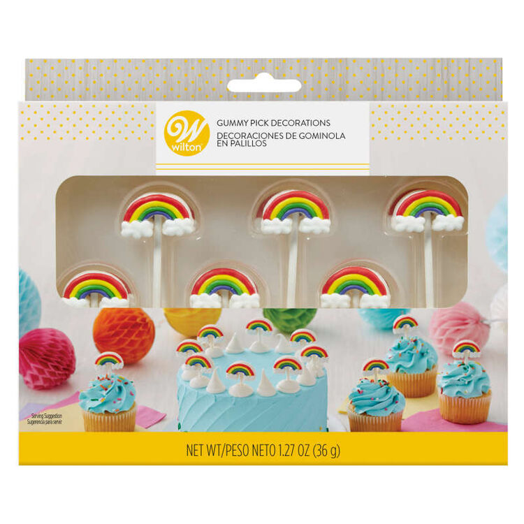 Rainbow Gummy Pick Decorations, 12-Count