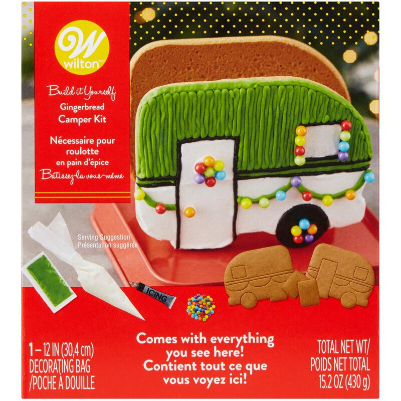 Build it Yourself Outdoor Adventures Ahead Gingerbread Camper Decorating Kit image number 0
