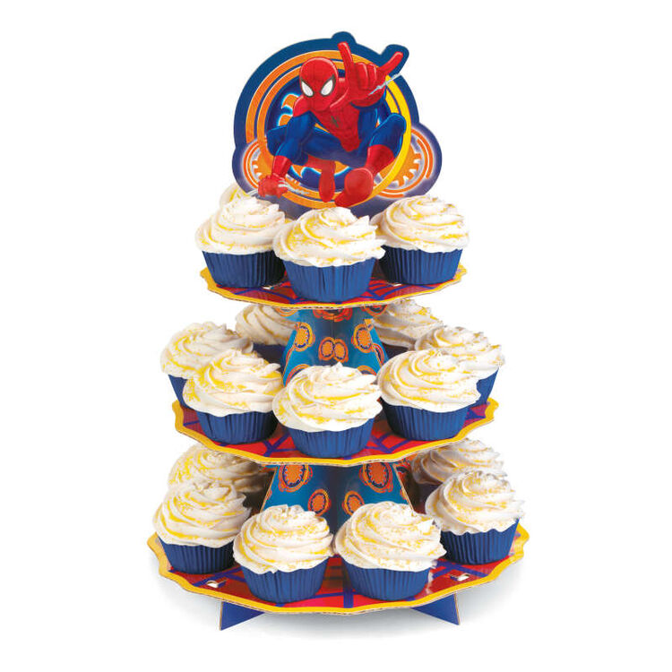 Spider Man Cupcake Stand with Yellow Cupcakes