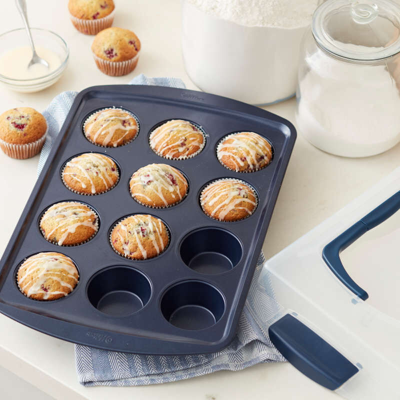 Diamond-Infused Non-Stick Navy Blue Muffin and Cupcake Pan, 12-Cup image number 4