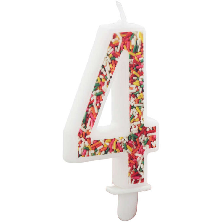 Sprinkle on the Birthday Fun Number 4 Birthday Candle