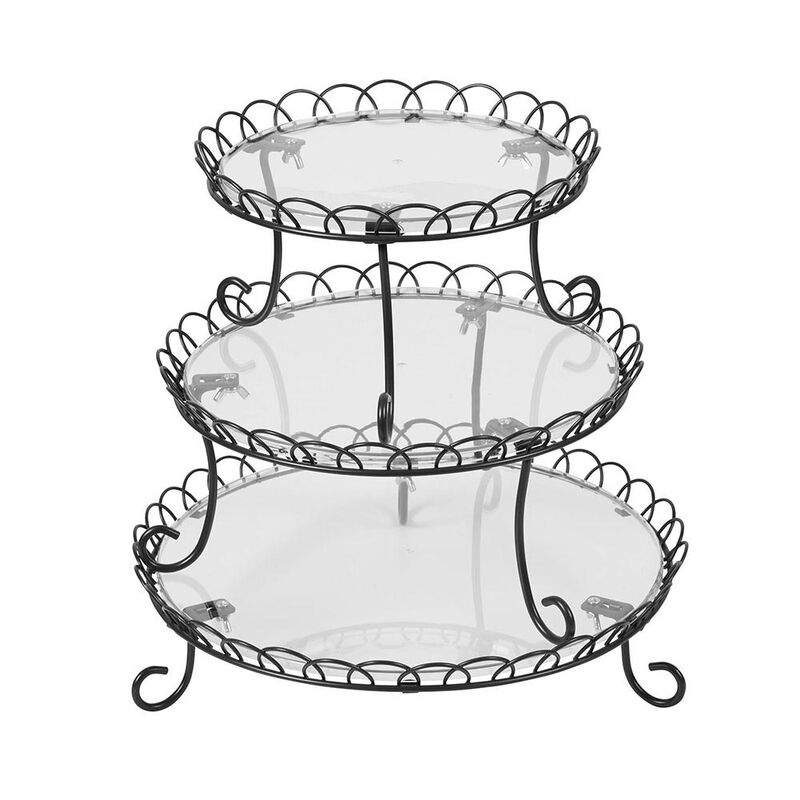 3-Tier Customizable Iron Treat Stand, 13-Inch image number 0