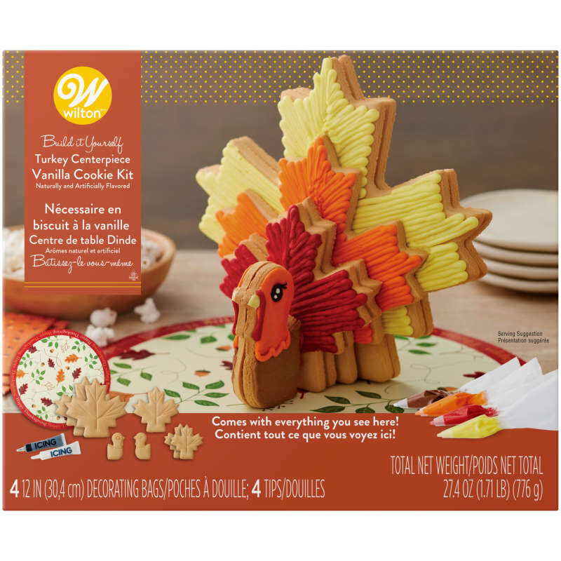 Build It Yourself Turkey Centerpiece Vanilla Cookie Decorating Kit image number 0