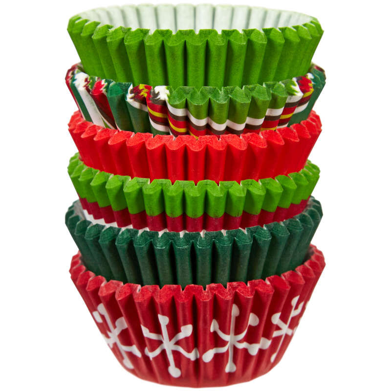 Holiday Red and Green Mini Cupcake Liners, 150-Count image number 0