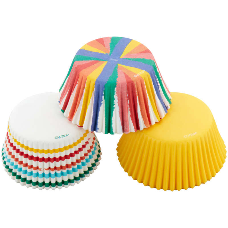 Rainbow, Striped and Yellow Standard Baking Cups, 75-Count image number 2