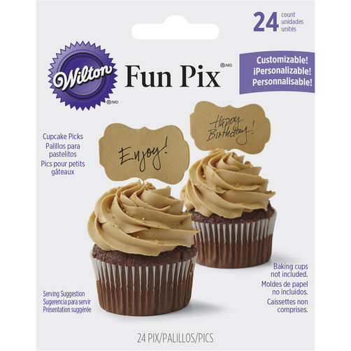 Customizable Kraft Fun Pix Cupcake Toppers