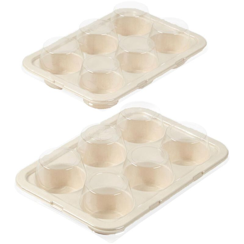 Disposable 6-Cup Muffin Baking Pans with Lids, 2-Count image number 0