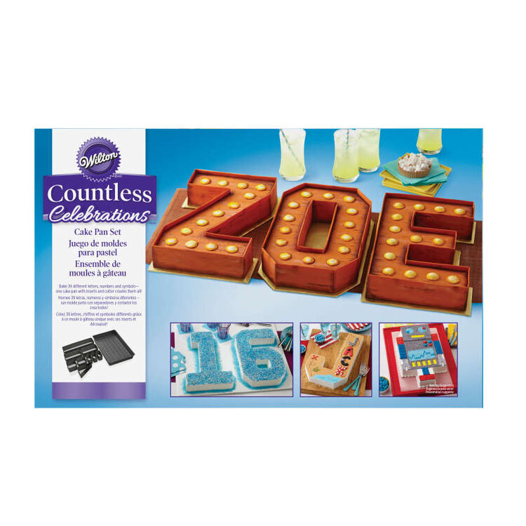 Numbers and Letters Cake Pan in Packaging