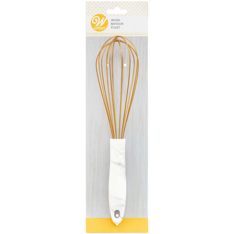 Large Gold Balloon Whisk with Marble Handle
