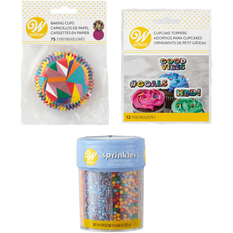 Pop Art Cupcake Decorating Kit Components in Packaging