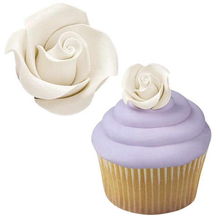 White Rose Icing Decorations, 8-Count