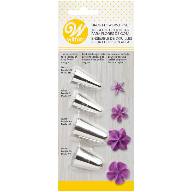 Cake Decorating Drop Flower Tips, 4-Piece Piping Tips Set image number 2