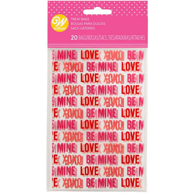 Valentine's Day Love Print Mini Treat Bags, 20-Count