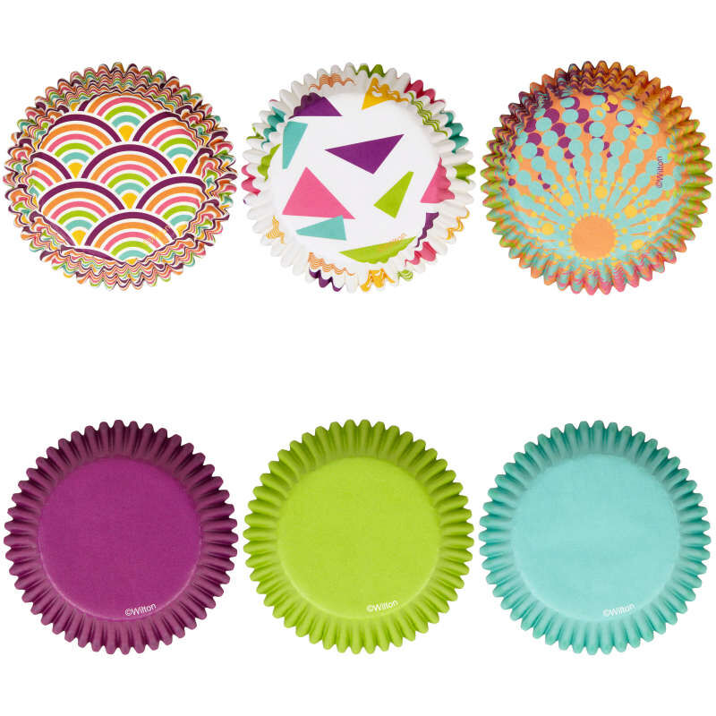 Assorted Colors and Patterns Cupcake Liners, 150-Count image number 2