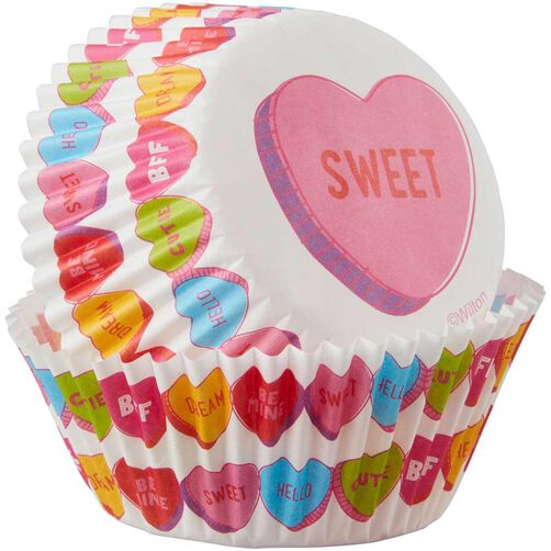 Candy Hearts Cupcake Liners