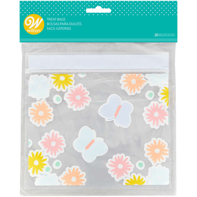 Flowers and Butterflies Resealable Treat Bags, 20-Count