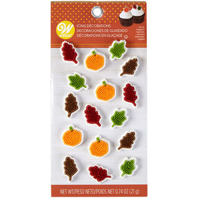 Pumpkin and Leaf Royal Icing Decorations, 16-Count