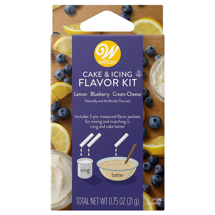 Lemon, Blueberry and Cream Cheese Cake and Icing Flavor Kit, 3-Piece
