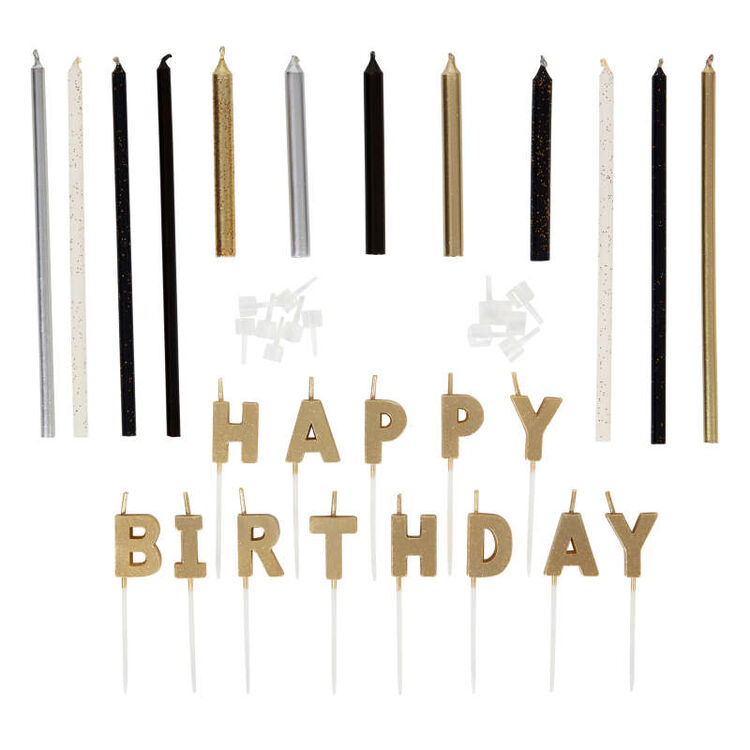 Metallic Birthday Candle Set, 25-Count