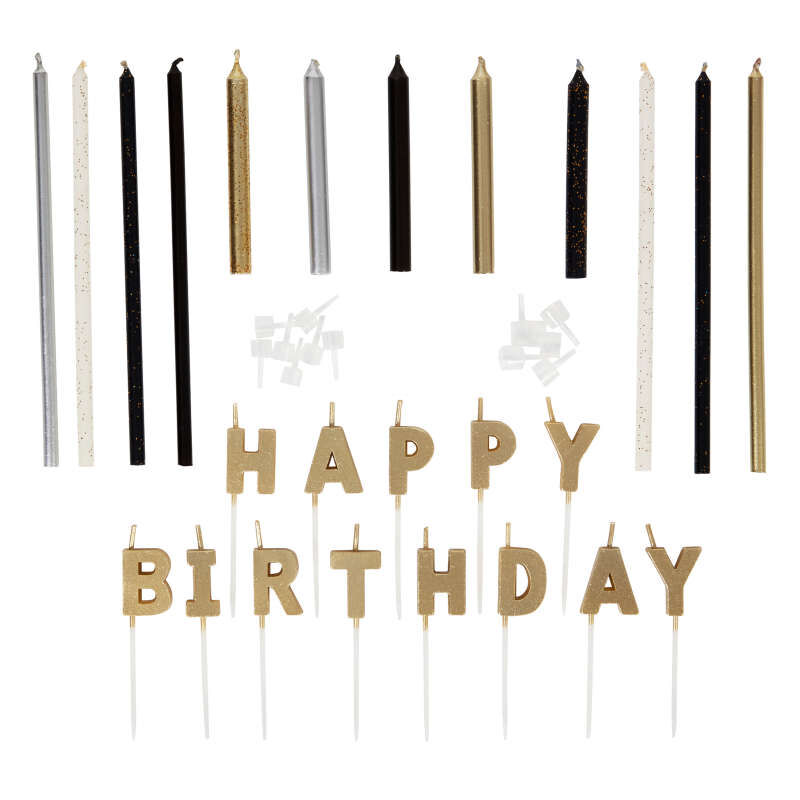 Metallic Birthday Candle Set, 25-Count image number 1