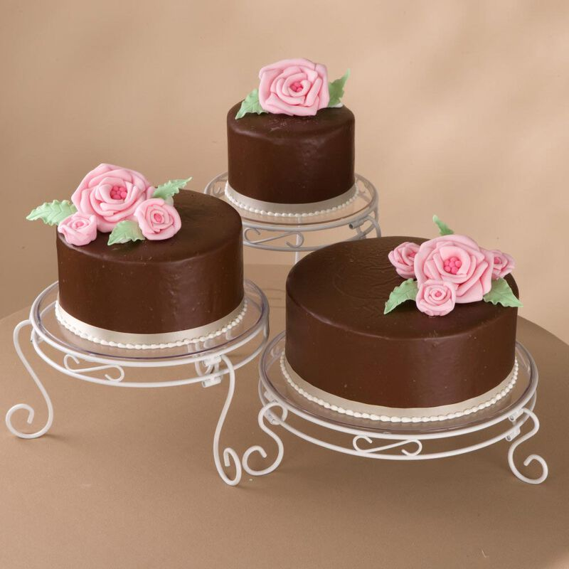 White Scrolled Cake and Dessert Stand Set - Wedding Cake Display image number 4