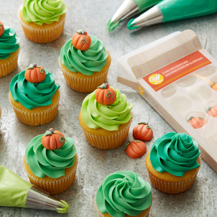 Shimmer Pumpkin Icing Decorations, 12-Count