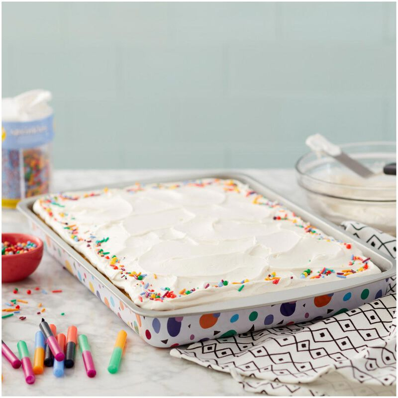 Triangle Print Birthday Cake Pan and Decorating Set, 3-Piece image number 4