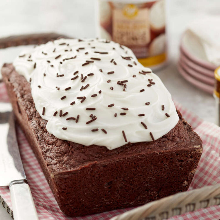 Chocolate Loaf Cake with Vanilla Frosting