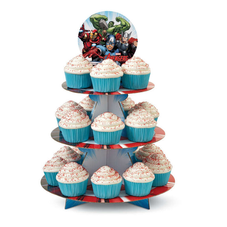 Avengers Cupcake Stand in Use with White Cupcakes
