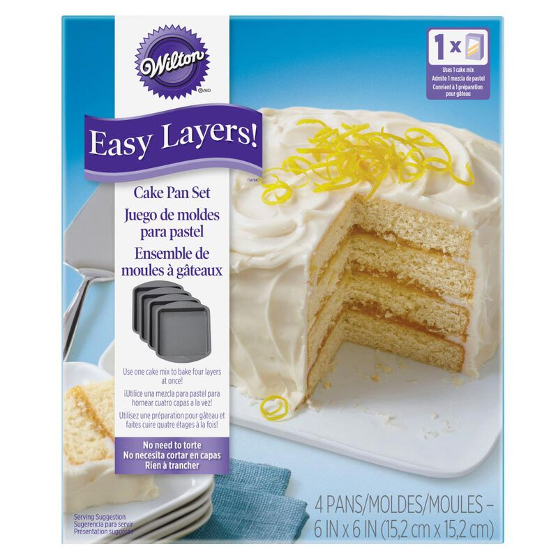 Easy Layers Square Cake Pan Set, 4-Piece image number 1