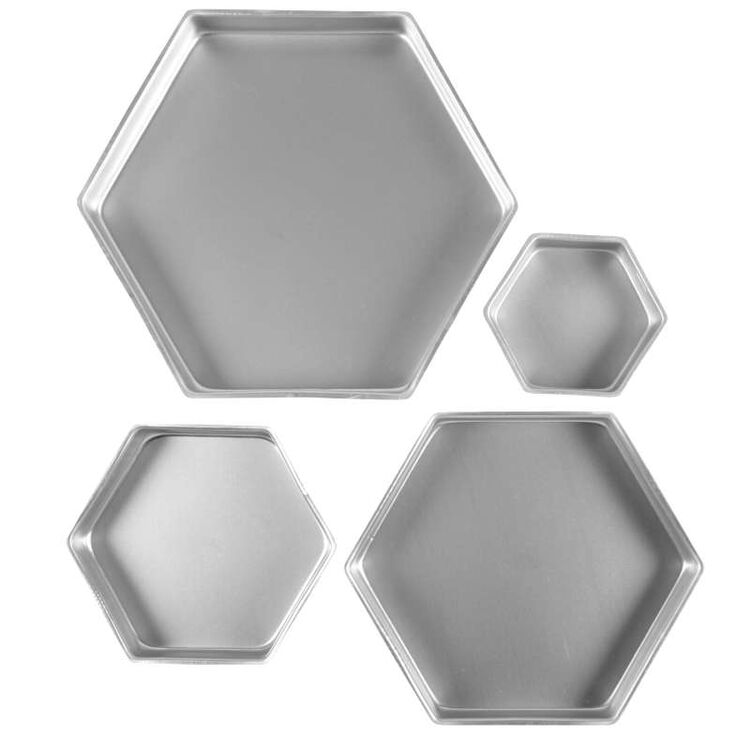 Four Different Sized Hexagon Cake Pans Out of Packaging