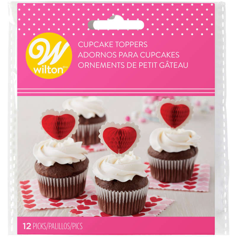 Honeycomb Heart Cupcake Toppers, 12-Count image number 1