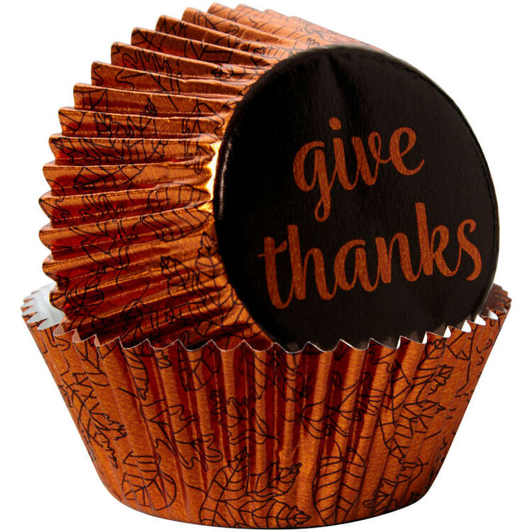 Give Thanks Foil Cupcake Liners, 24-Count