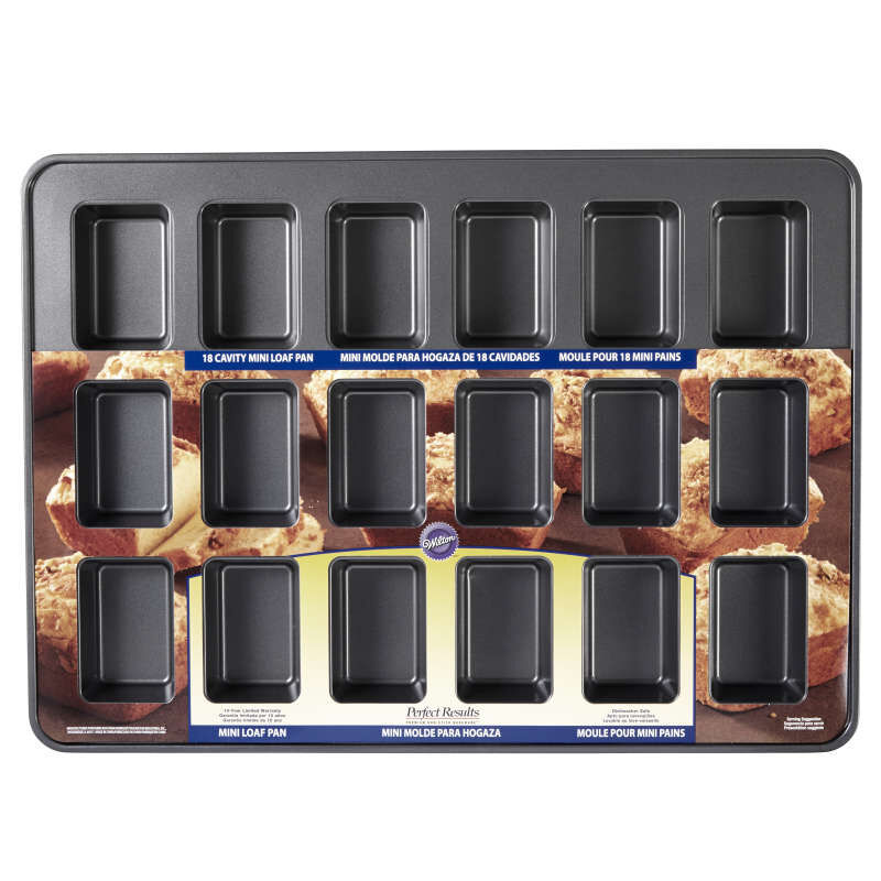 Perfect Results Premium Non-Stick Bakeware Mini Loaf Pan, 18-Cavity image number 1