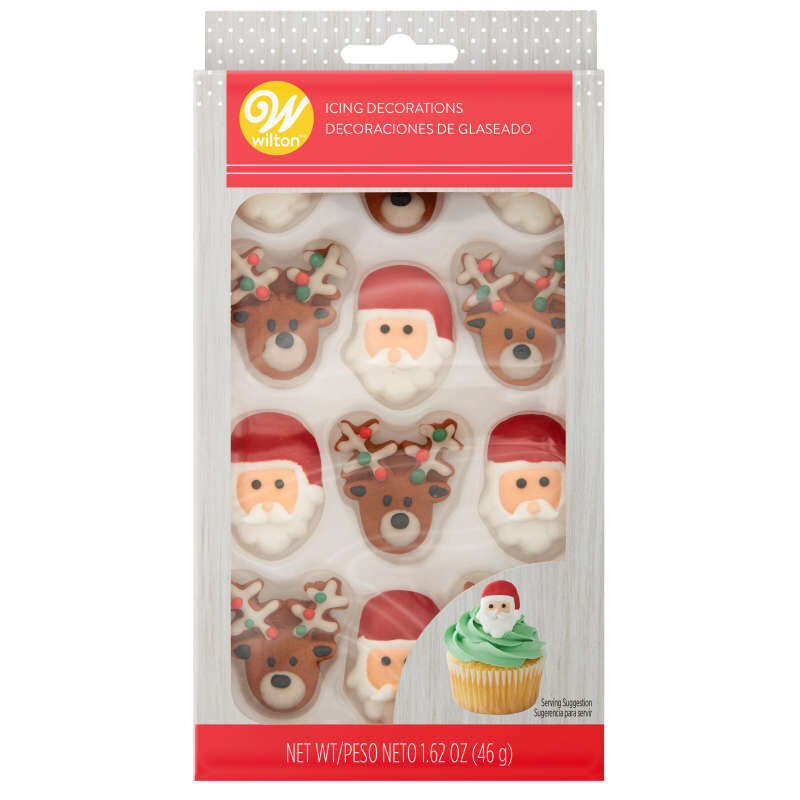 Santa and Reindeer Royal Icing Decorations, 12-Count image number 0