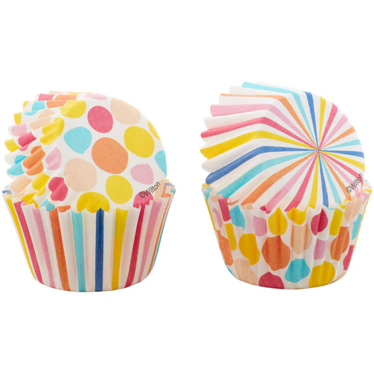 Colorful Polka Dot and Stripes Mini Baking Cups, 100-Count