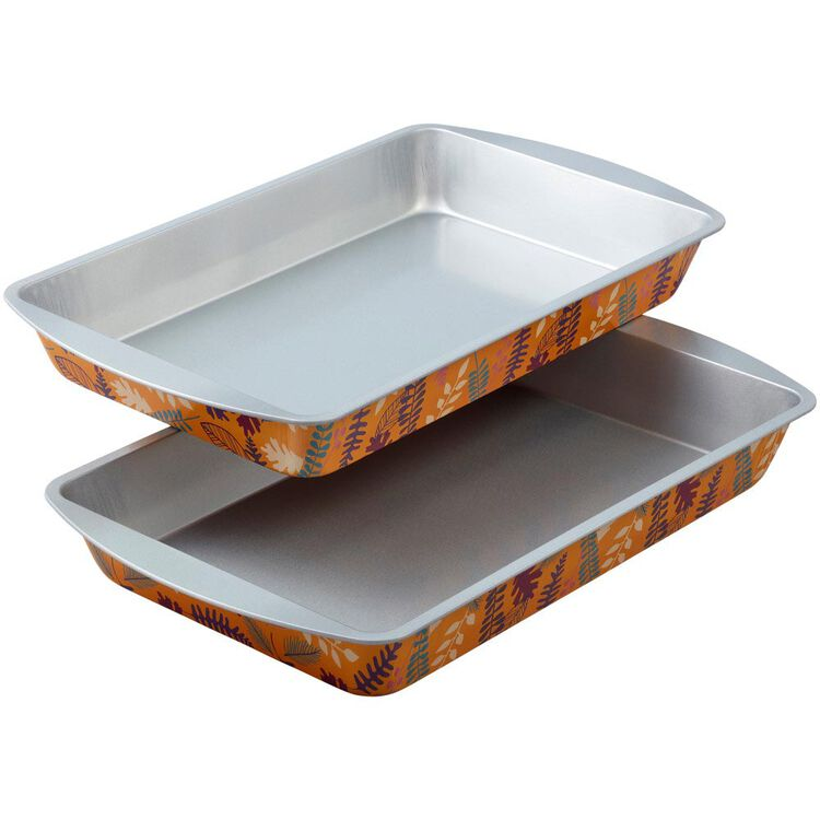 Bake and Bring Autumn Print Non-Stick 11 x 7-Inch Oblong Pans, 2-Count
