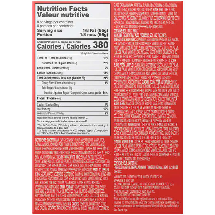 Gingerbread Men Cookie Decorating Kit Nutrition Facts