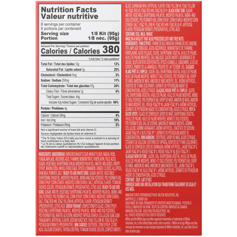 Gingerbread Men Cookie Decorating Kit Nutrition Facts image number 1