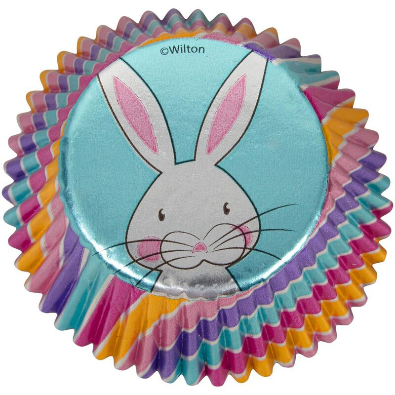 Easter Bunny Foil Cupcake Liners, 24-Count image number 0