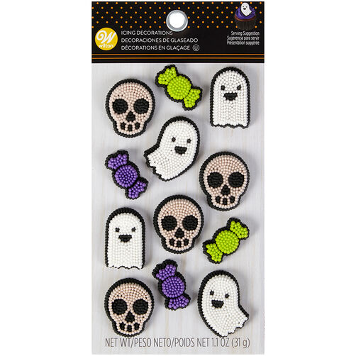 Ghost, Skull and Candy Icing Decorations, 12-Count