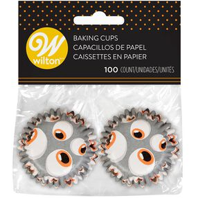 Halloween Grey Eyeballs Mini Cupcake Liners, 100-Count