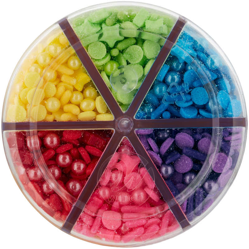 6-Cell Rainbow Medley Sprinkles Mix with Turning Lid, 6.56 oz. image number 1