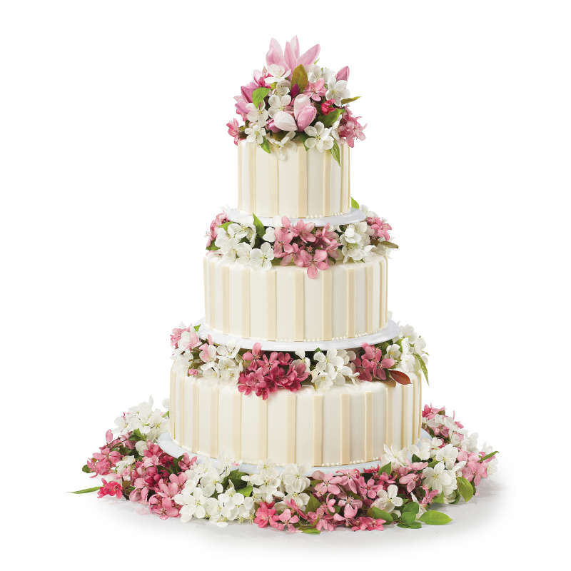 Three Tier Pink and White Wedding Cake image number 5