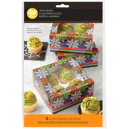 Halloween Spiderweb Cupcake Box with Window, 3-Count