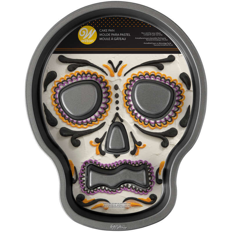 Halloween Non-Stick Skull-Shaped Cake Pan, 9.5 x 12-Inch image number 1