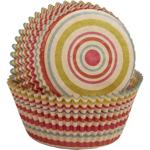 Unbleached Multicolored Stripe Cupcake Liners